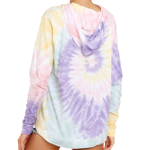 TIE-DYE LONG SLEEVE HOODED PULLOVER YELLOW MULTI