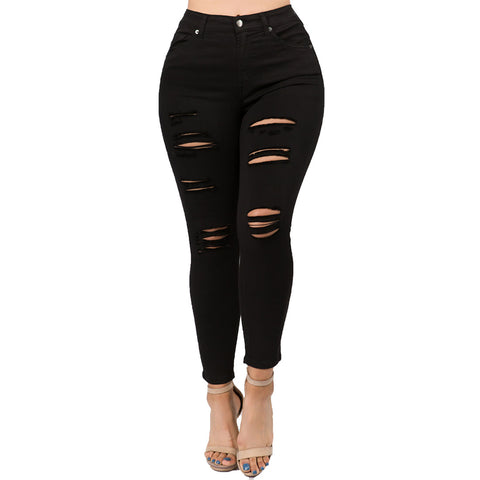 HIGH RISE DISTRESSED JEANS BLACK