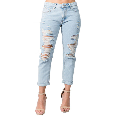 DISTRESSED BF JEAN  LIGHT BLUE
