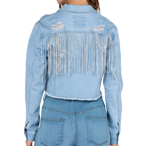 RHINESTONE DENIM JACKET LIGHT BLUE