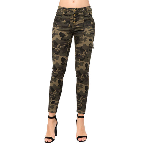 BUTTON UP CARGO SKINNY JEANS CAMOUFLAGE