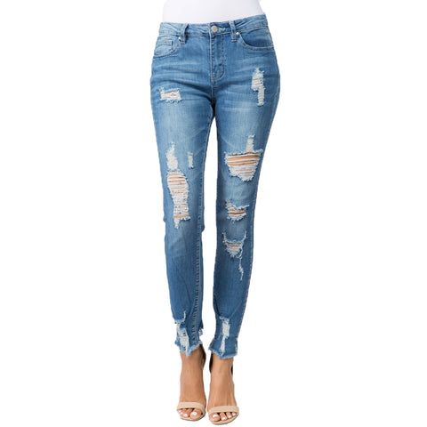 DISTRESSED SKINNY JEAN BLUE