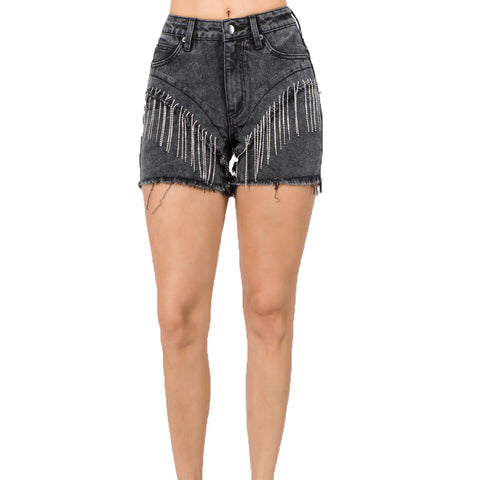 RHINESTONE DENIM SHORTS BLACK