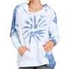TIE-DYE LONG SLEEVE HOODED PULLOVER BLUE MULTI