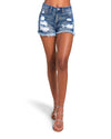 DARK WASH DENIM SHORTS BLUE