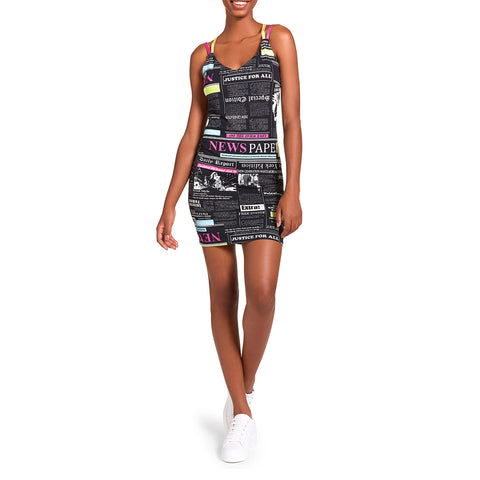 NEWSPAPER DRESS BLACK MULTI