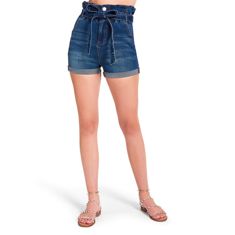 HIGH WAISTED TIE SHORTS DENIM FABRIC
