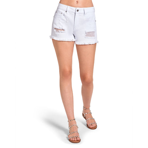 RAW HEM DENIM SHORTS WHITE
