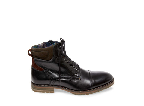 HAGAR BLACK LEATHER - Steve Madden