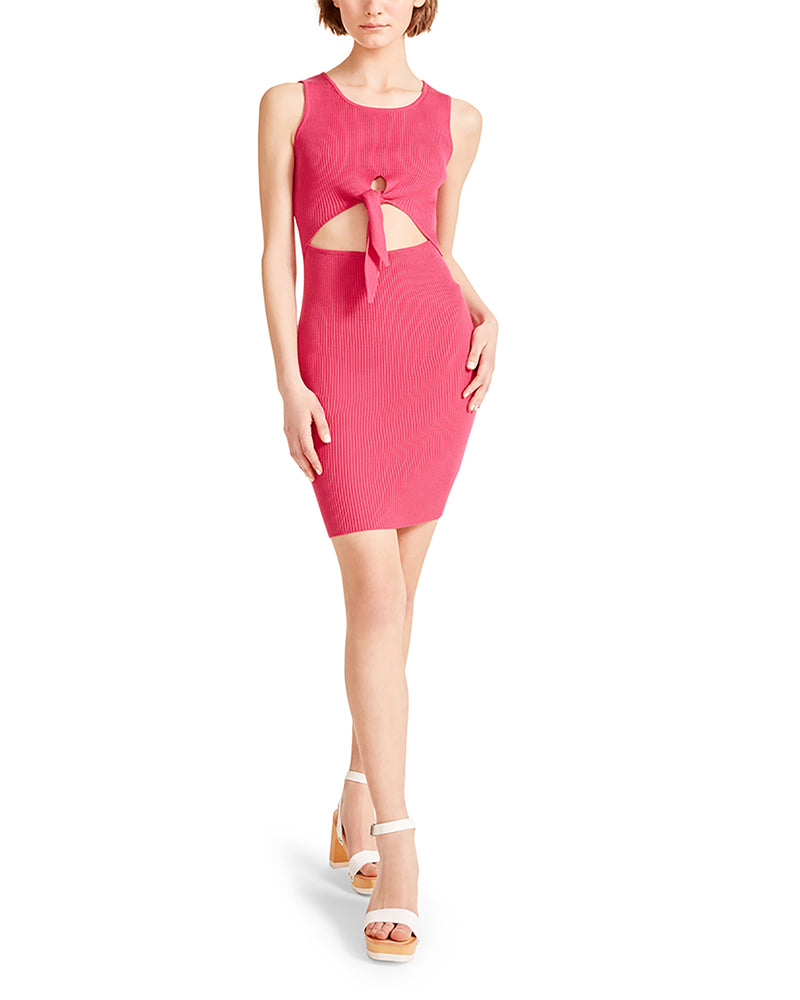 CUT OUT TIE DRESS HOT PINK