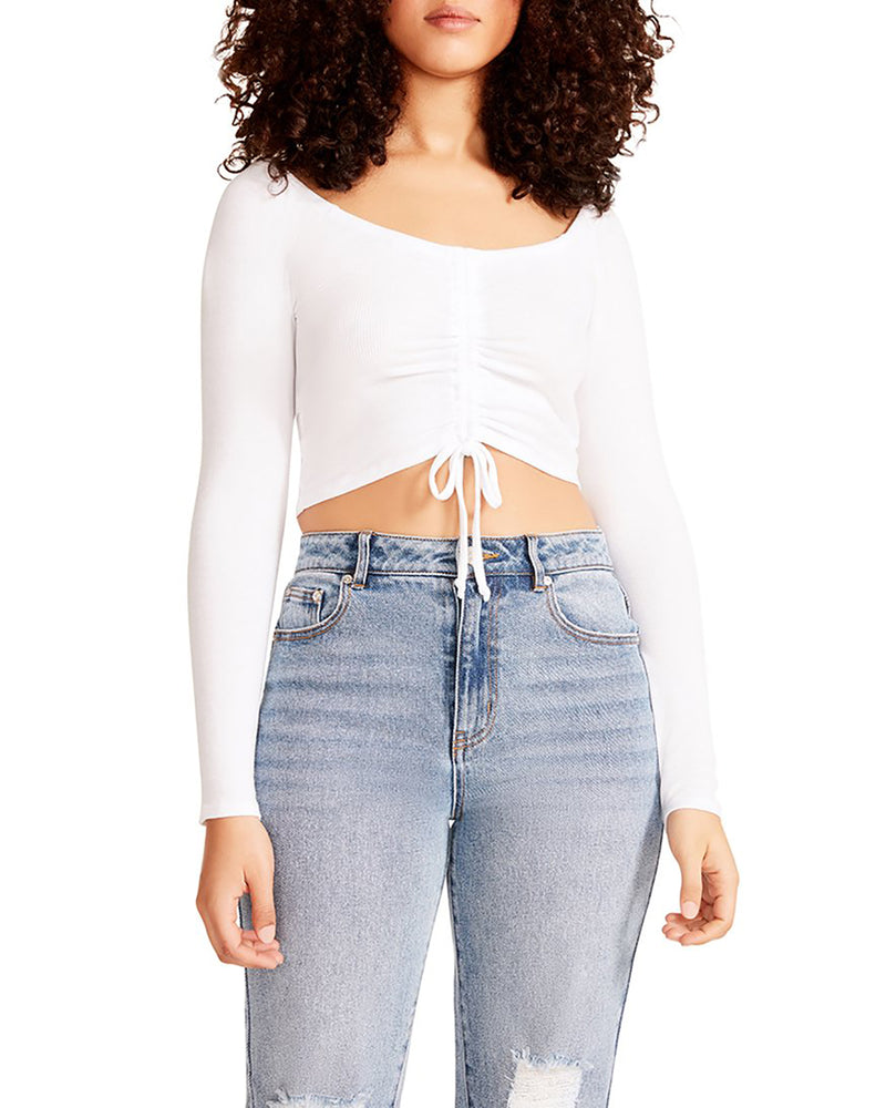 CINCHED CROPPED LONG SLEEVE TOP WHITE