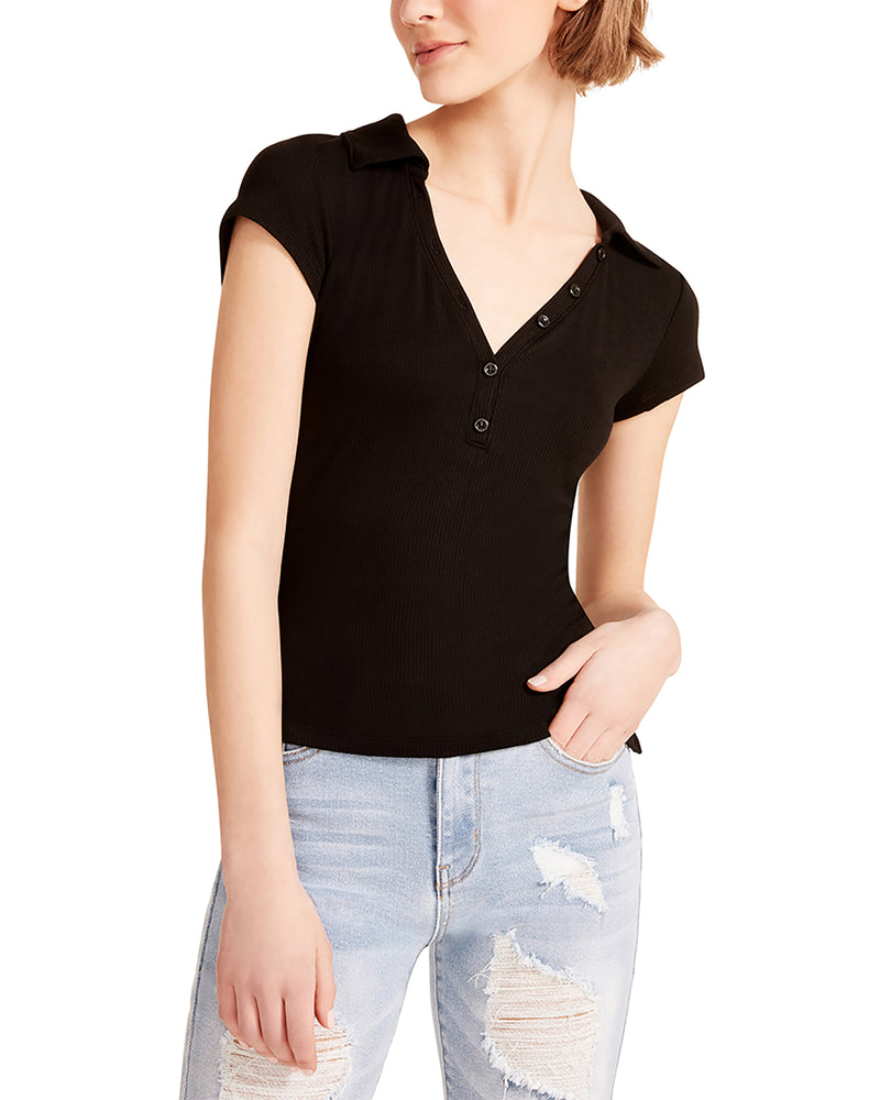 COLLARED V-NECK TEE BLACK