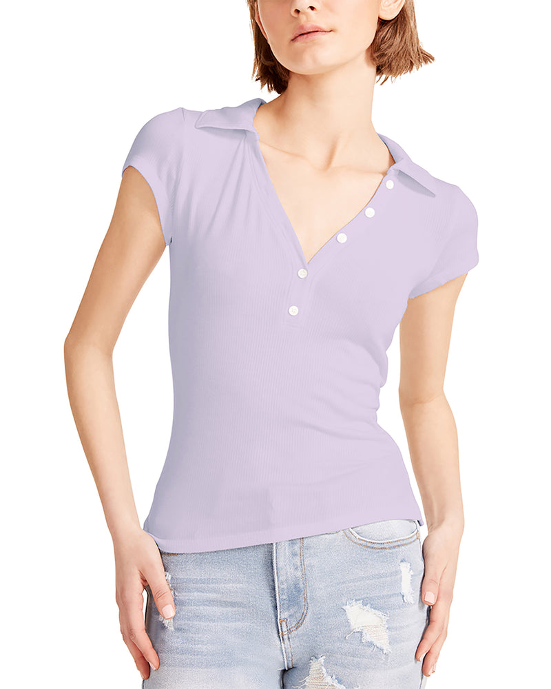 COLLARED V-NECK TEE LILAC