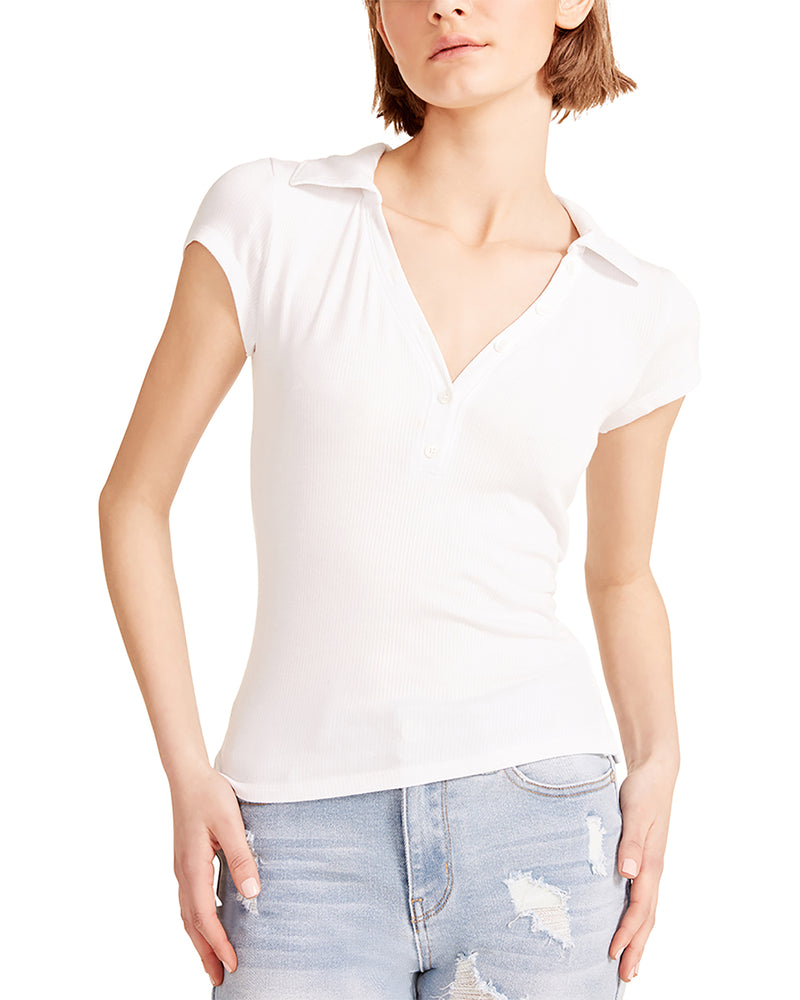 COLLARED V-NECK TEE WHITE