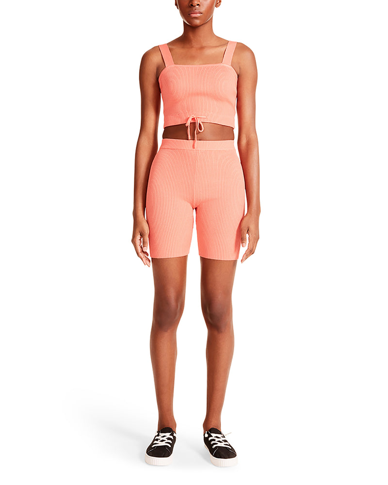 CROPPED TANK BIKER SHORT SET CORAL