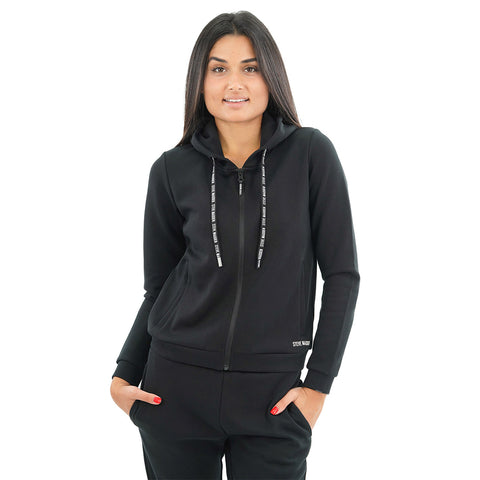 ZIP-UP SWEATSHIRT AND PANT SET BLACK