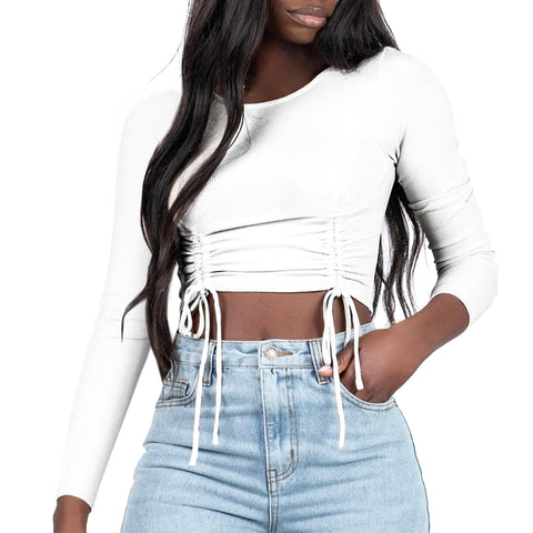 LONG SLEEVE RUCHED TIE TOP WHITE