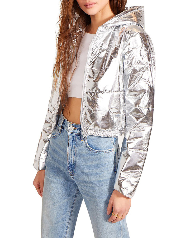 VINYL PUFFER CROPPED JACKET SILVER