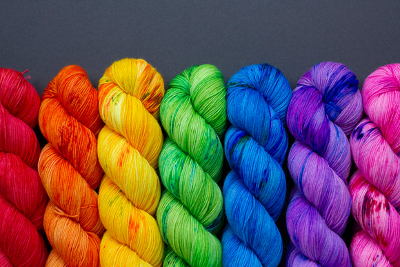 Rainbow Set - 7 x 100g skeins - Merino Nylon - Fingering Weight