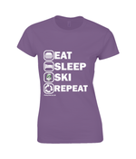 "Load image into Gallery viewer, Funky Yeti Ladies T-Shirt ""Eat Sleep Ski Repeat"""
