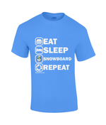 "Load image into Gallery viewer, Funky Yeti Men's T-Shirt ""Eat Sleep Snowboard Repeat"""