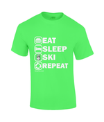 "Load image into Gallery viewer, Funky Yeti Men's T-Shirt ""Eat Sleep Ski Repeat"""