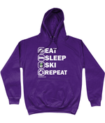"Load image into Gallery viewer, Funky Yeti Men's Hoodie ""Eat Sleep Ski Repeat"""