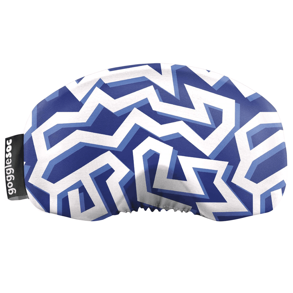 Gogglesoc - Blue Geo Stripes Soc Funky Yeti Exclusive Goggle Cover