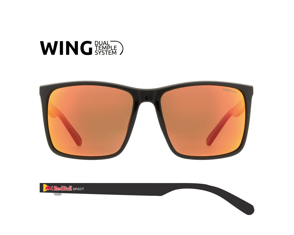 Red Bull Spect Sunglasses - BOW Black / Brown With Red Mirror Polarized