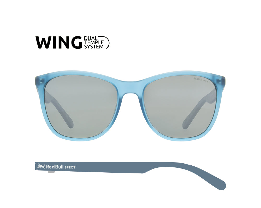 Red Bull Spect Sunglasses - FLY X'tal Blue / Green With Silver Flash Polarized