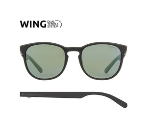 Red Bull Spect Sunglasses - STEADY Black / Smoke With Green Mirror Polarized