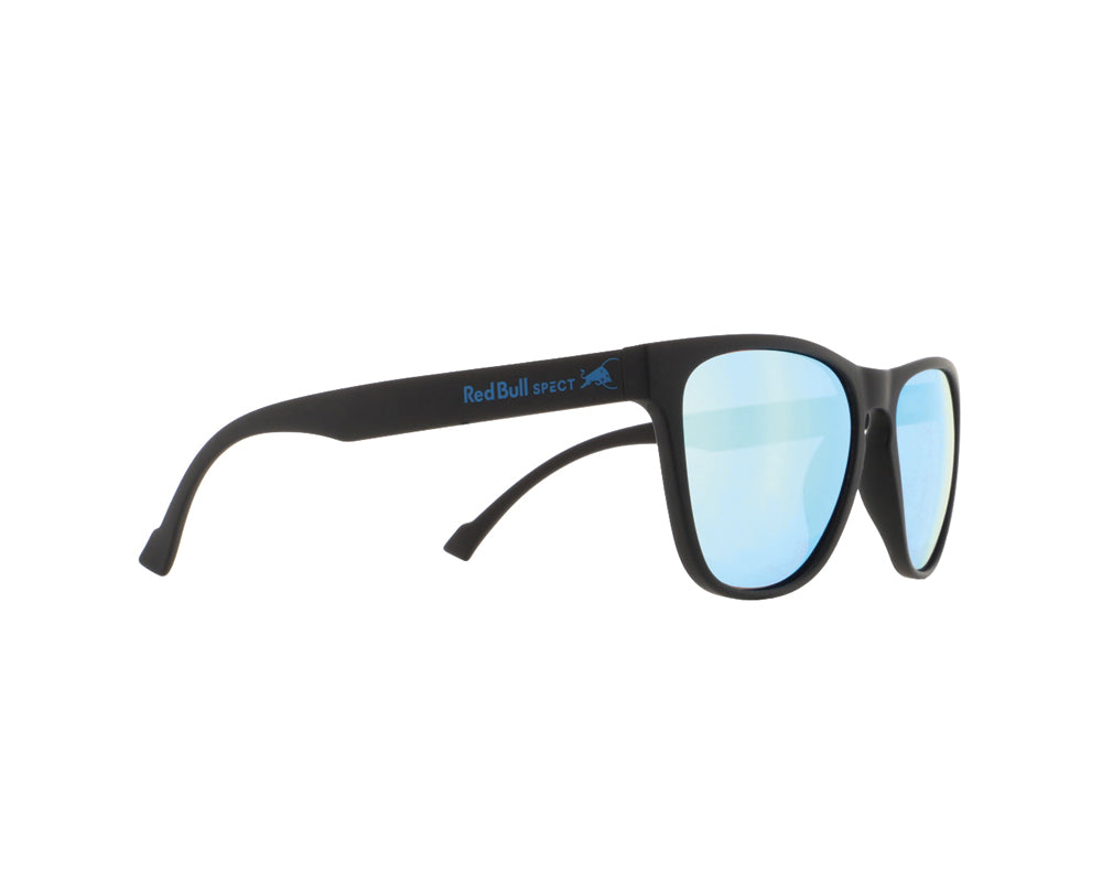 Red Bull Spect Sunglasses - SPARK Black / Smoke With Ice Blue Mirror Polarized