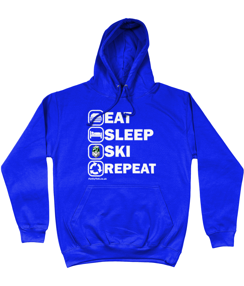 "Funky Yeti Men's Hoodie ""Eat Sleep Ski Repeat"""