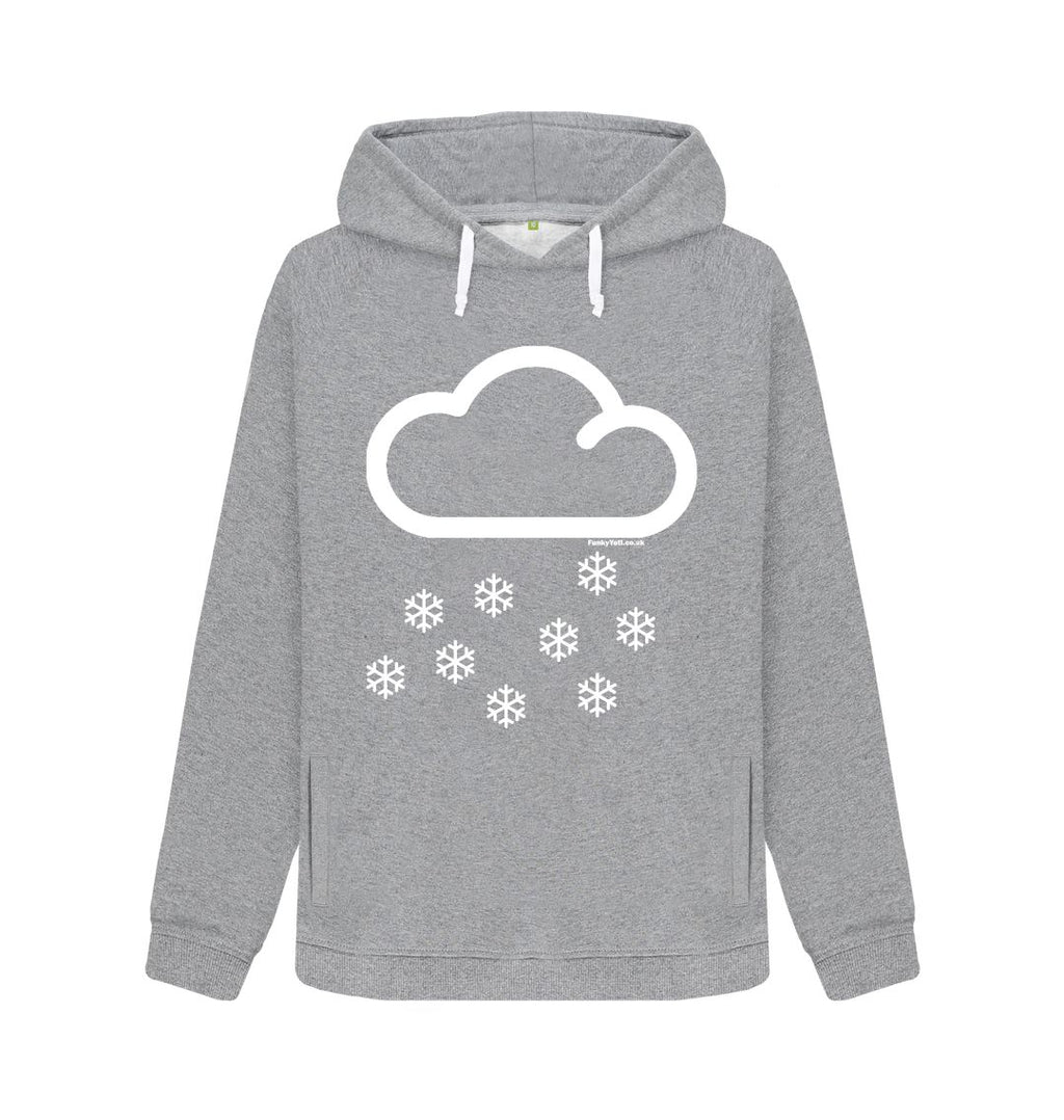 Light Heather Funky Yeti Women's Pullover Hoodie - Snow Cloud