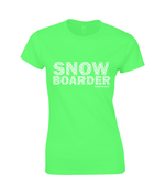 "Load image into Gallery viewer, Funky Yeti Women's T-Shirt ""Snowflake Snowboarder"""