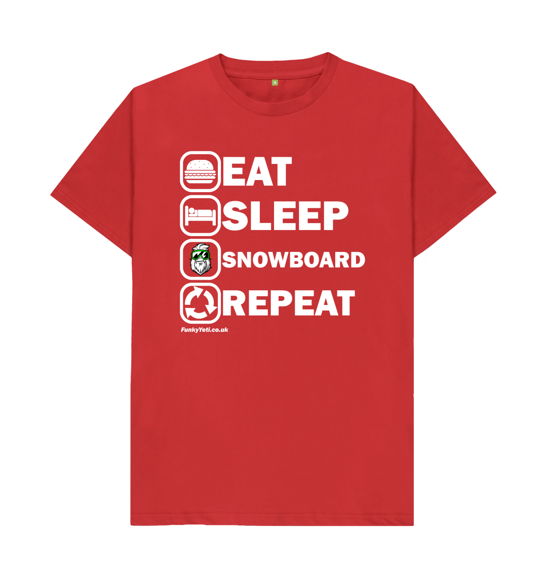 Funky Yeti Men's Eat Sleep Snowboard Repeat Tee