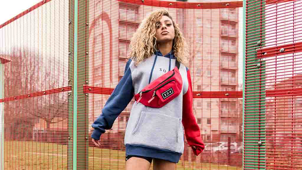 A retro sports look with the Colour Block Hoodie