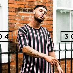 304 Midnight Pinstripe T-shirt Black