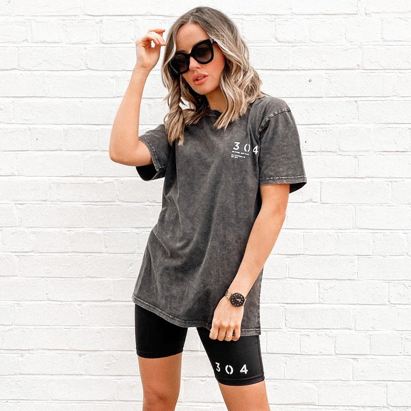 304 Clothing | Stone Summer Wash T-Shirt - Black | Womens