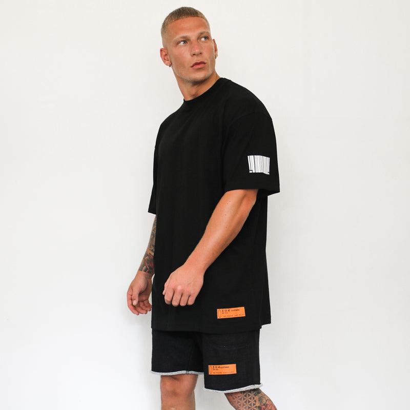 304 Clothing | Mini Barcode T-Shirt - Black | Mens