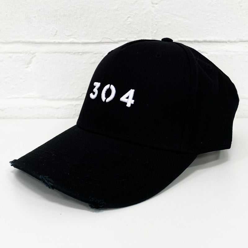 304 Clothing | Core Distressed Cap - Black & White