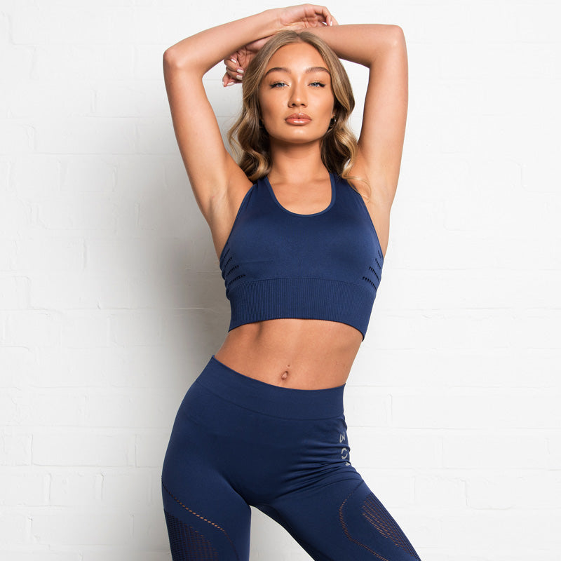 304 Clothing | Active Seamless 3D Fit Sports Bra | Navy | Womens