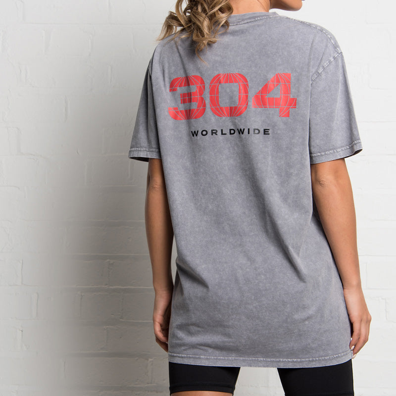 304 Clothing | Retro Stone Wash T-shirt | Grey | Womens