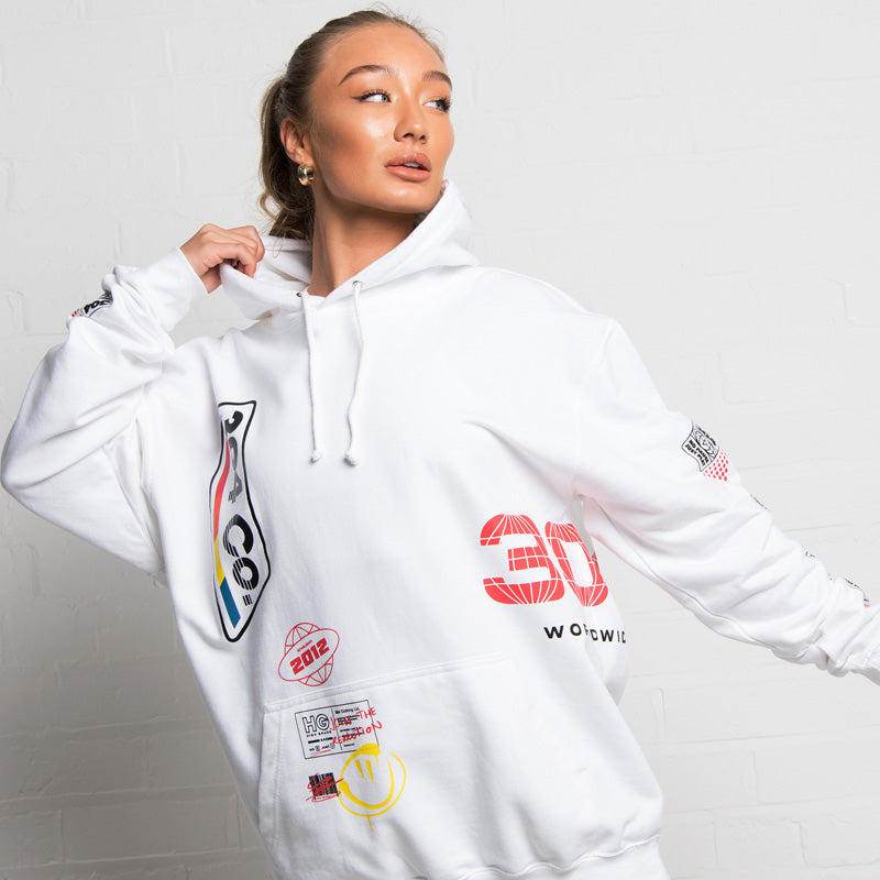 304 Clothing | Retro White Hoodie | 304 Womens