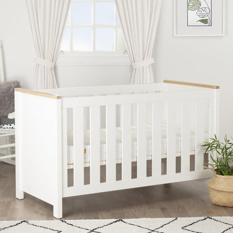 Aylesbury Cot Bed in White and Ash