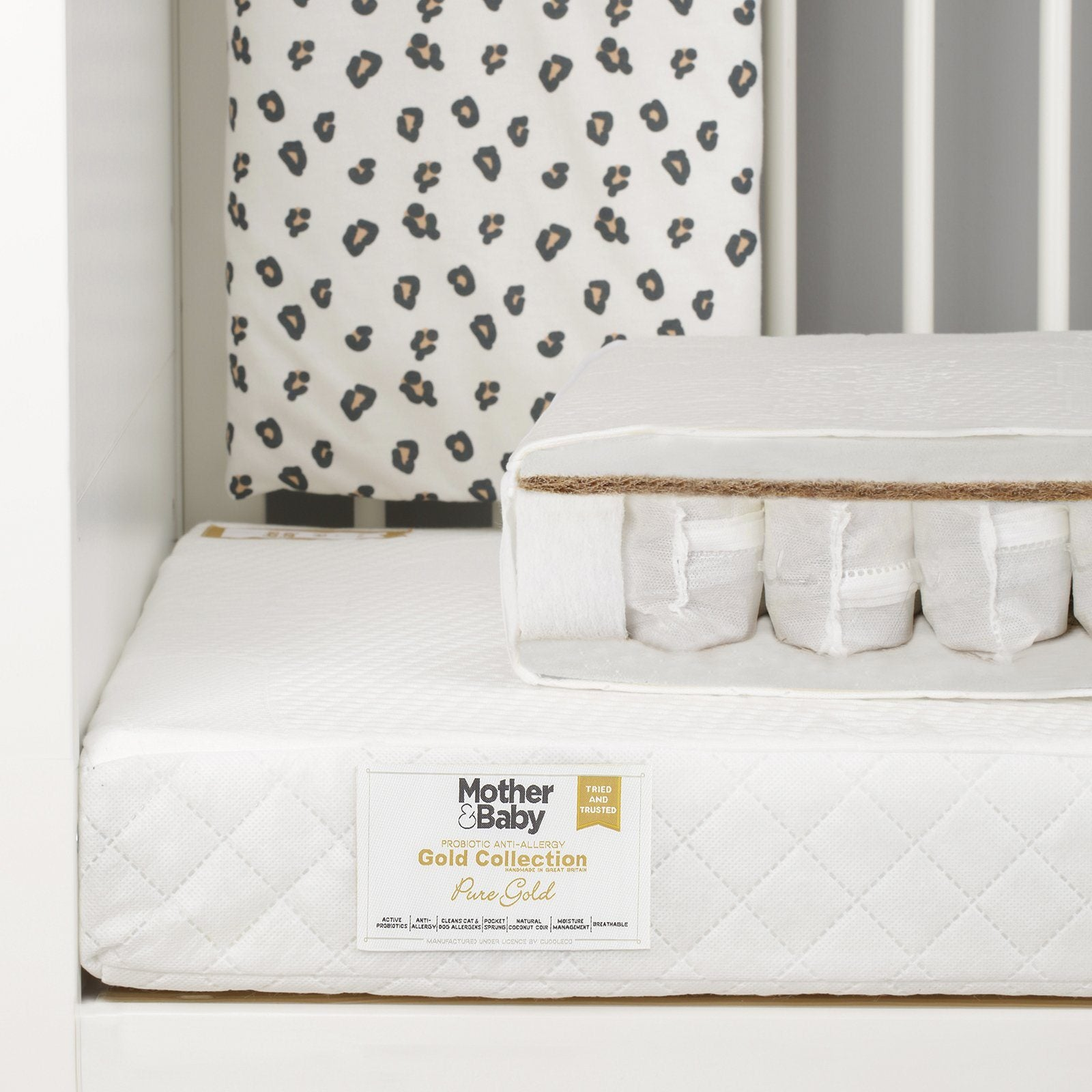 Mother&Baby Pure Gold Anti-Allergy Coir Pocket Sprung Cot bed Mattress 140 x 70cm Mattresses Mother & Baby