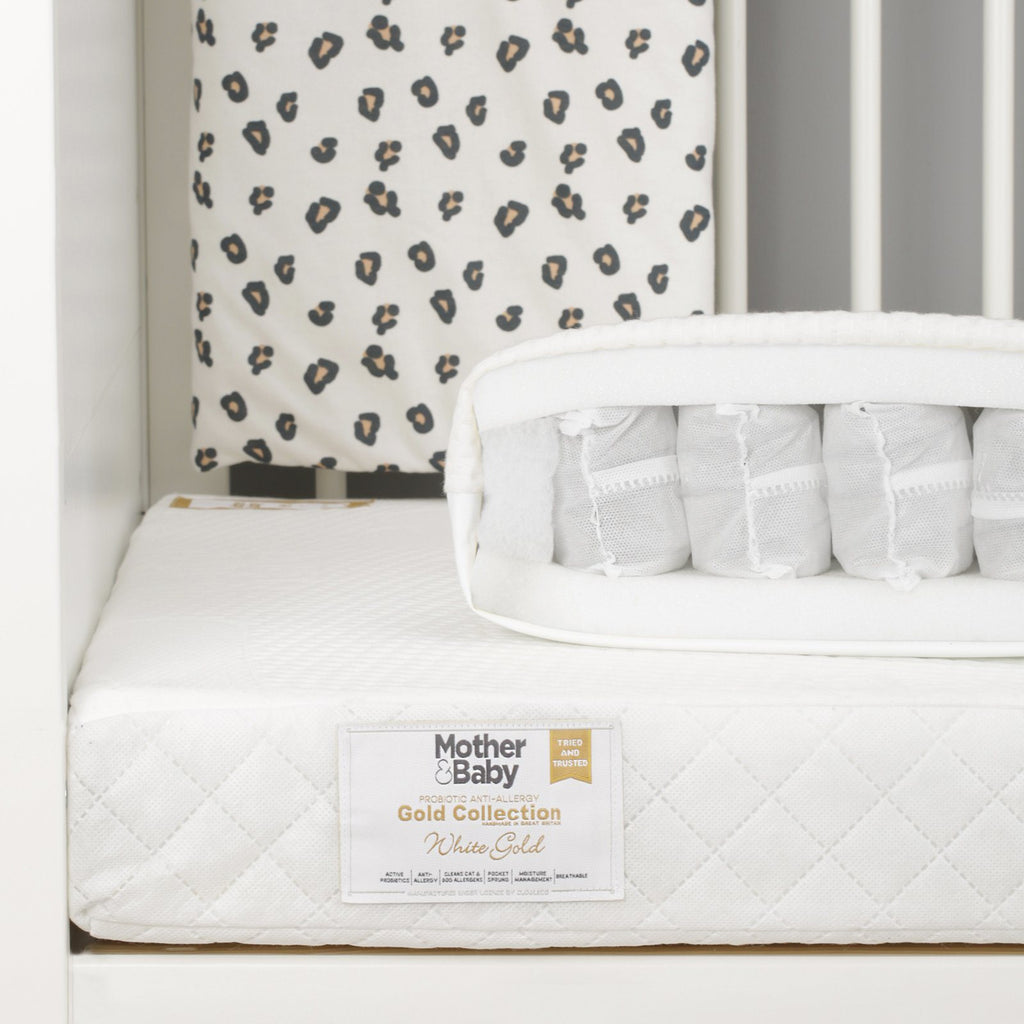 Mother&Baby White Gold Anti-Allergy Pocket Sprung Cot Mattress 120 x 60cm Mattresses Mother & Baby