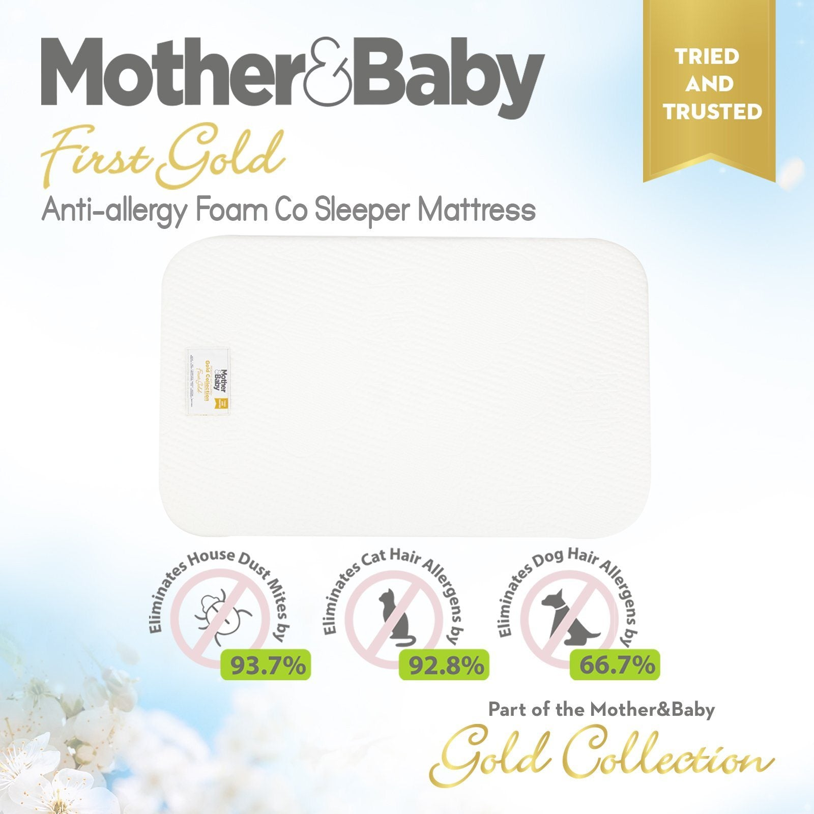 Mother&Baby First Gold Anti-Allergy Foam Co-Sleeper Mattress 83 x 50cm Mother & Baby