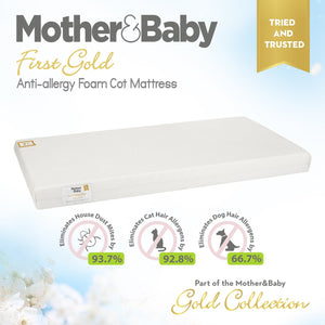 Mother&Baby First Gold Anti-Allergy Foam Cot Mattress 120 x 70cm Mother & Baby