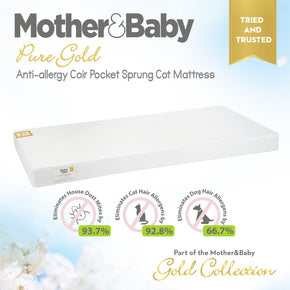 Mother&Baby Pure Gold Anti-Allergy Coir Pocket Cot Mattress 120 x 70cm Mother & Baby